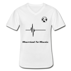 "Premier DJ E-Luv Logo - ""Married To Music"" Signature Men's V-Neck T-Shirt - white"