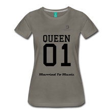 "Load image into Gallery viewer, Women DJ's Dream Logo - ""Married To Music"" Queen 01 Women's Premium T-Shirt - asphalt gray"