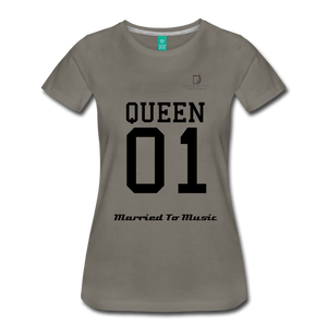 "Women DJ's Dream Logo - ""Married To Music"" Queen 01 Women's Premium T-Shirt - asphalt gray"