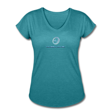 "Load image into Gallery viewer, Next Level *Official ""Queen Level"" - Women's Tri-Blend V-Neck T-Shirt - heather turquoise"
