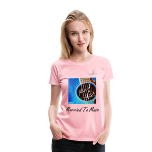 "Women DJ's Dream Logo - ""Married To Music"" Blue Guitar Women's Premium T-Shirt - pink"