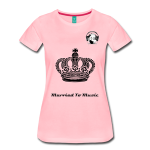 "Premier DJ E-Luv Logo - ""Married To Music"" Queen Crown Women's Premium T-Shirt - pink"