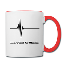 "Load image into Gallery viewer, ""Married To Music"" Line - Red Stylish Contrast Coffee Mug - white/red"