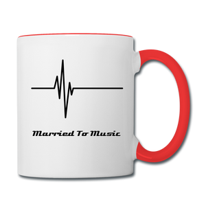 """Married To Music"" Line - Red Stylish Contrast Coffee Mug - white/red"