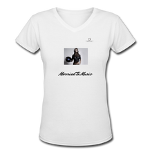 "Load image into Gallery viewer, Women DJ's Dream Logo - ""Married To Music"" Female DJ & Vinyl V-Neck Premium T-Shirt - white"