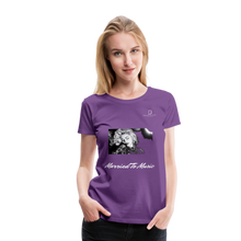 "Load image into Gallery viewer, Women DJ's Dream Logo - ""Married To Music"" Iconic Madonna Women's Premium Black T-Shirt - purple"