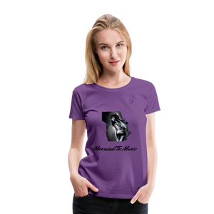 "Women DJ's Dream Logo - ""Married To Music"" Girl-Art Women's Premium Organic T-Shirt - purple"