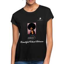 "Load image into Gallery viewer, ""Beautiful Black Women"" Line - (Classic Afro) Relaxed Fit Cotton T-Shirt - black"