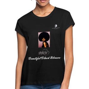 """Beautiful Black Women"" Line - (Classic Afro) Relaxed Fit Cotton T-Shirt - black"