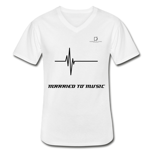 DJ's Dream Attire Logo - Married To Music Line Men's V-Neck T-Shirt - white
