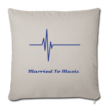"Load image into Gallery viewer, ""Married To Music"" Line - Navy Style Throw Pillow Cover 18"" x 18"" - light grey"