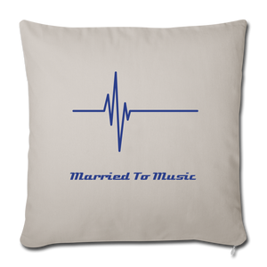 """Married To Music"" Line - Navy Style Throw Pillow Cover 18"" x 18"" - light grey"