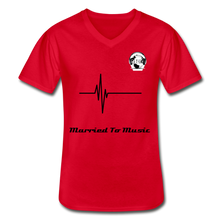 "Load image into Gallery viewer, Premier DJ E-Luv Logo - ""Married To Music"" Signature Men's V-Neck T-Shirt - red"