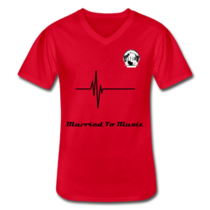 "Premier DJ E-Luv Logo - ""Married To Music"" Signature Men's V-Neck T-Shirt - red"
