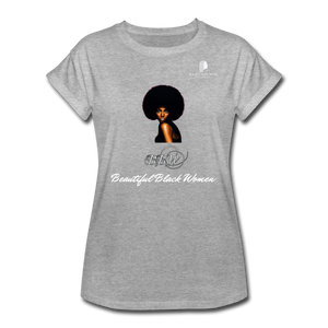 """Beautiful Black Women"" Line - (Classic Afro) Relaxed Fit Cotton T-Shirt - heather gray"