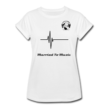 "Load image into Gallery viewer, Premier DJ E-Luv Logo - ""Married To Music"" Signature Women's Relaxed Fit T-Shirt - white"