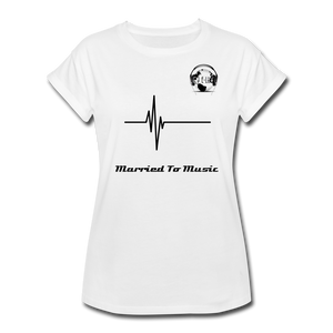 "Premier DJ E-Luv Logo - ""Married To Music"" Signature Women's Relaxed Fit T-Shirt - white"