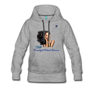 """Beautiful Black Women"" Line - (Inviting) Women's Premium Soft Hoodie - heather gray"