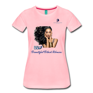 """Beautiful Black Women"" Line - (Inviting) Soft Premium Cotton T-Shirt - pink"