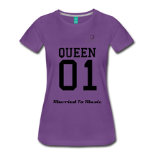 "Load image into Gallery viewer, Women DJ's Dream Logo - ""Married To Music"" Queen 01 Women's Premium T-Shirt - purple"