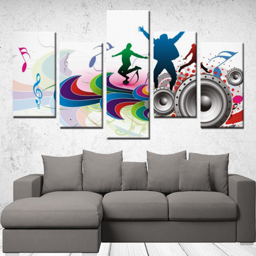 White 5 Panels Abstract Music Canvas Wall Art