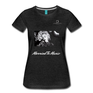"Women DJ's Dream Logo - ""Married To Music"" Iconic Madonna Women's Premium Black T-Shirt - charcoal gray"