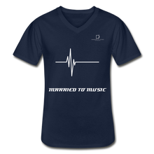 Load image into Gallery viewer, DJ's Dream Attire Logo - Married To Music Line Men's V-Neck T-Shirt - navy