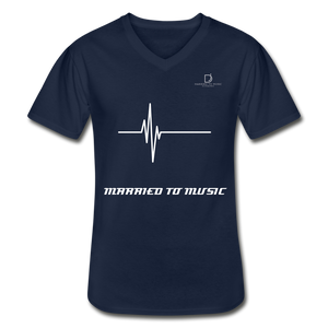 DJ's Dream Attire Logo - Married To Music Line Men's V-Neck T-Shirt - navy