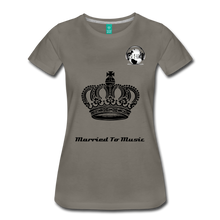 "Load image into Gallery viewer, Premier DJ E-Luv Logo - ""Married To Music"" Queen Crown Women's Premium T-Shirt - asphalt gray"