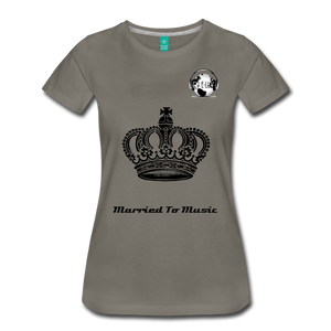 "Premier DJ E-Luv Logo - ""Married To Music"" Queen Crown Women's Premium T-Shirt - asphalt gray"