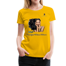 "Load image into Gallery viewer, ""Beautiful Black Women"" Line - (Inviting) Soft Premium Cotton T-Shirt - sun yellow"