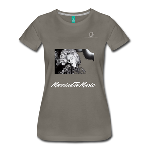 "Women DJ's Dream Logo - ""Married To Music"" Iconic Madonna Women's Premium Black T-Shirt - asphalt gray"