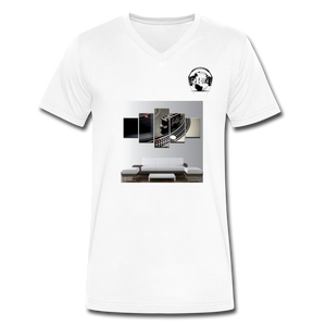 Premier DJ E-Luv Logo - Turntable Wall Art - Men's V-Neck T-Shirt by Canvas - white