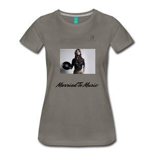 "Women DJ's Dream Logo - ""Married To Music"" Female DJ & Vinyl Women's Premium T-Shirt - asphalt gray"
