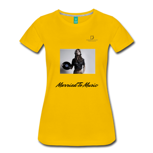 "Women DJ's Dream Logo - ""Married To Music"" Female DJ & Vinyl Women's Premium T-Shirt - sun yellow"