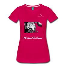 "Load image into Gallery viewer, Women DJ's Dream Logo - ""Married To Music"" Iconic Madonna Women's Premium Black T-Shirt - dark pink"