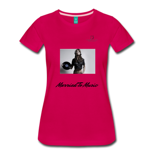 "Women DJ's Dream Logo - ""Married To Music"" Female DJ & Vinyl Women's Premium T-Shirt - dark pink"