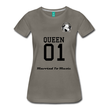 "Load image into Gallery viewer, Premier DJ E-Luv Logo - ""Married To Music"" Queen 01 Women's Premium T-Shirt - asphalt gray"