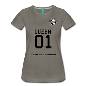 "Premier DJ E-Luv Logo - ""Married To Music"" Queen 01 Women's Premium T-Shirt - asphalt gray"