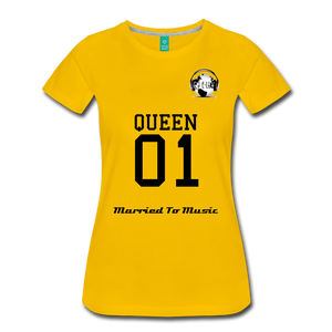 "Premier DJ E-Luv Logo - ""Married To Music"" Queen 01 Women's Premium T-Shirt - sun yellow"