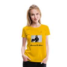 "Load image into Gallery viewer, Women DJ's Dream Logo - ""Married To Music"" Female DJ & Vinyl Women's Premium T-Shirt - sun yellow"