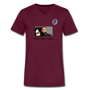 "N.L. ""Nipsey Hussle Forever"" At The Grammy's - Men's V-Neck T-Shirt by Canvas - maroon"