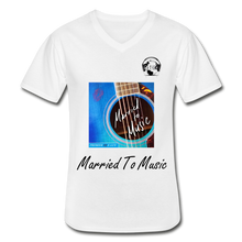 "Load image into Gallery viewer, Premier DJ E-Luv Logo - ""Married To Music"" Blue Guitar Men's V-Neck T-Shirt - white"