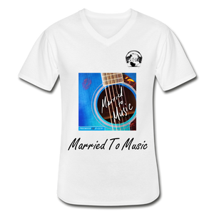 "Premier DJ E-Luv Logo - ""Married To Music"" Blue Guitar Men's V-Neck T-Shirt - white"