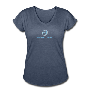 "Next Level *Official ""Queen Level"" - Women's Tri-Blend V-Neck T-Shirt - navy heather"