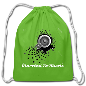"""Married To Music"" Line - Cotton Light-Blue Drawstring Bag - clover"