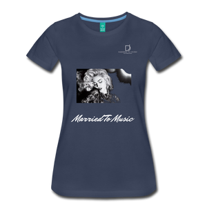 "Women DJ's Dream Logo - ""Married To Music"" Iconic Madonna Women's Premium Black T-Shirt - navy"