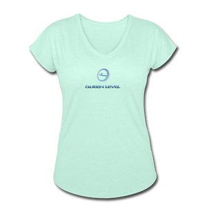 "Next Level *Official ""Queen Level"" - Women's Tri-Blend V-Neck T-Shirt - mint"
