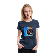 "Load image into Gallery viewer, Women DJ's Dream Logo - ""Married To Music"" Blue Guitar Women's Premium T-Shirt - navy"