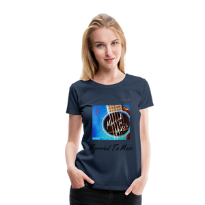 "Women DJ's Dream Logo - ""Married To Music"" Blue Guitar Women's Premium T-Shirt - navy"